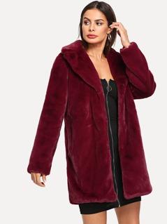 Notch Collar Faux Fur Teddy Coat