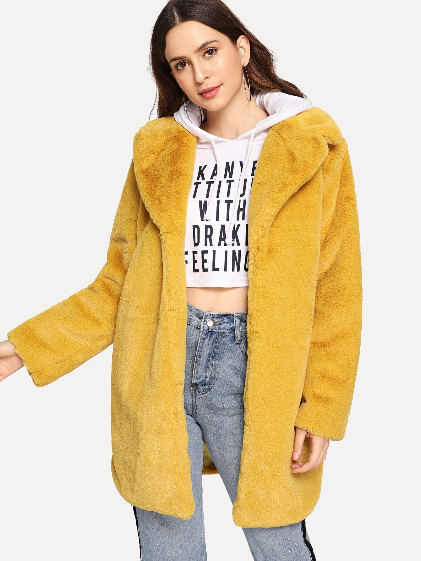 Купить Тедди пальто из искусственного меха с зубчатым вырезом, Jana, SheIn