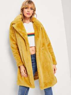Button Front Faux Fur Coat