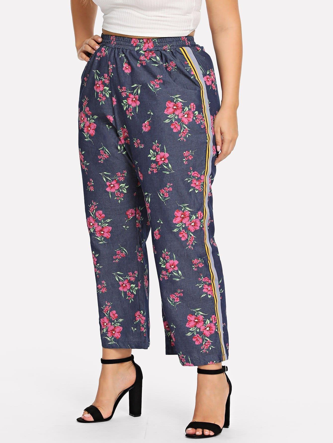 Купить Большие ситцевые брюки с басоном эластичным, Franziska, SheIn
