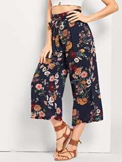 Drawstring Waist Straight Leg Floral Pants