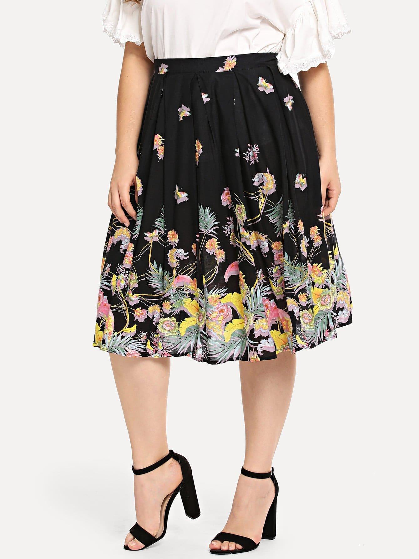 Купить Цветочная печать Эластичная талия юбка, Carol, SheIn