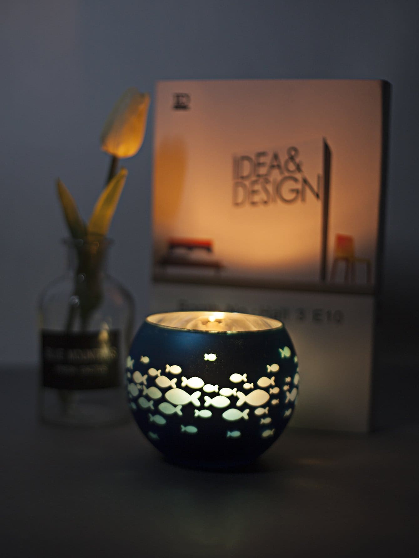 Fish Print Candle Cover