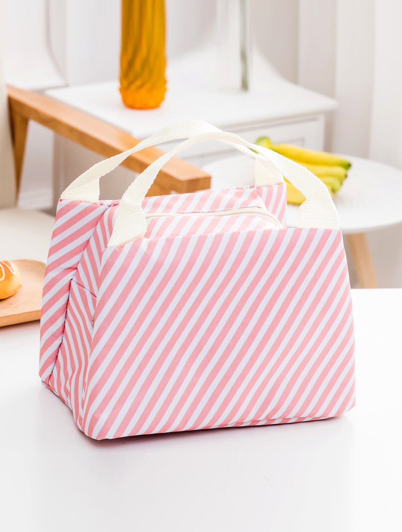 Striped Pattern Zipper Lunch Bag
