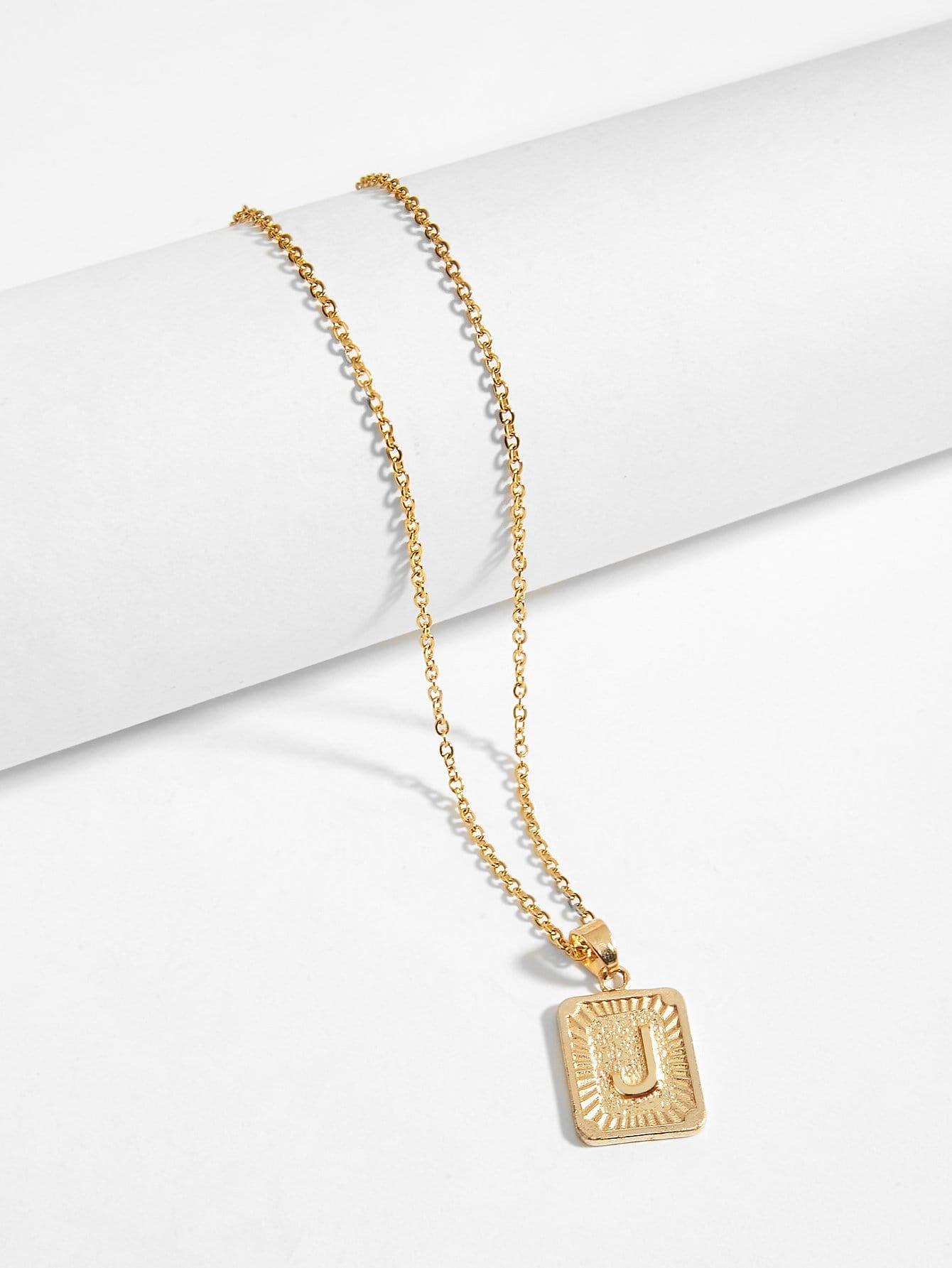 Men Letter Engraved Pendant Necklace