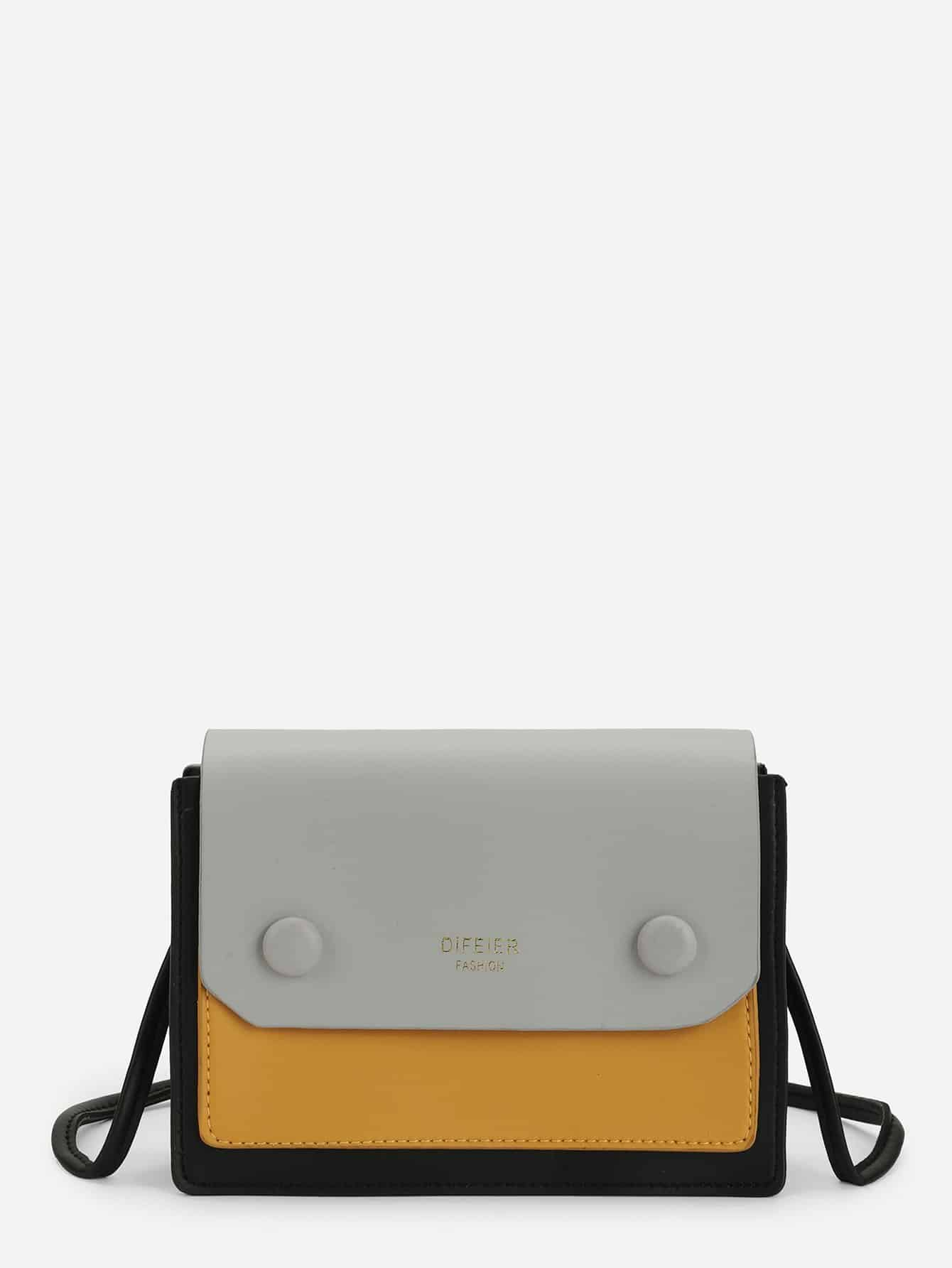 Купить Контрастная сумка через плечо с крышей, null, SheIn