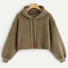 Solid Hooded Teddy Sweatshirt
