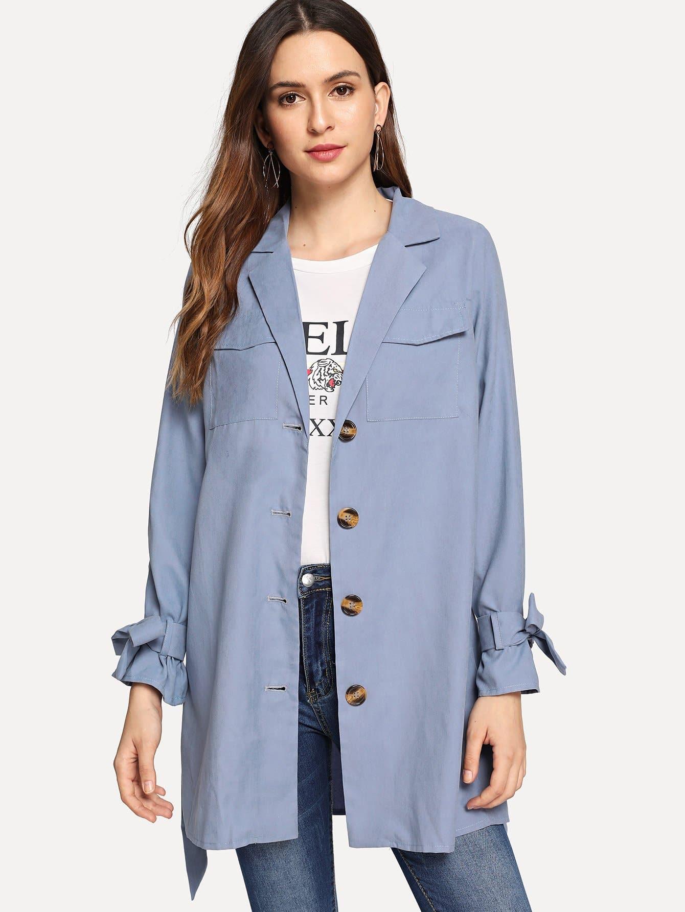 Однобортное пальто с поясом и отверстие рукава с бантом, Jana, SheIn  - купить со скидкой