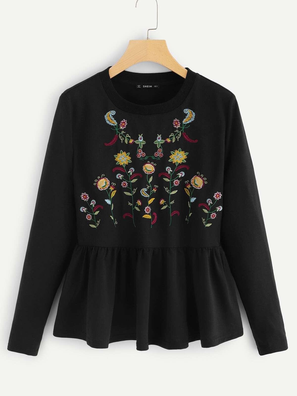 花葉 刺繡的 波形褶襞 下擺 T恤衫