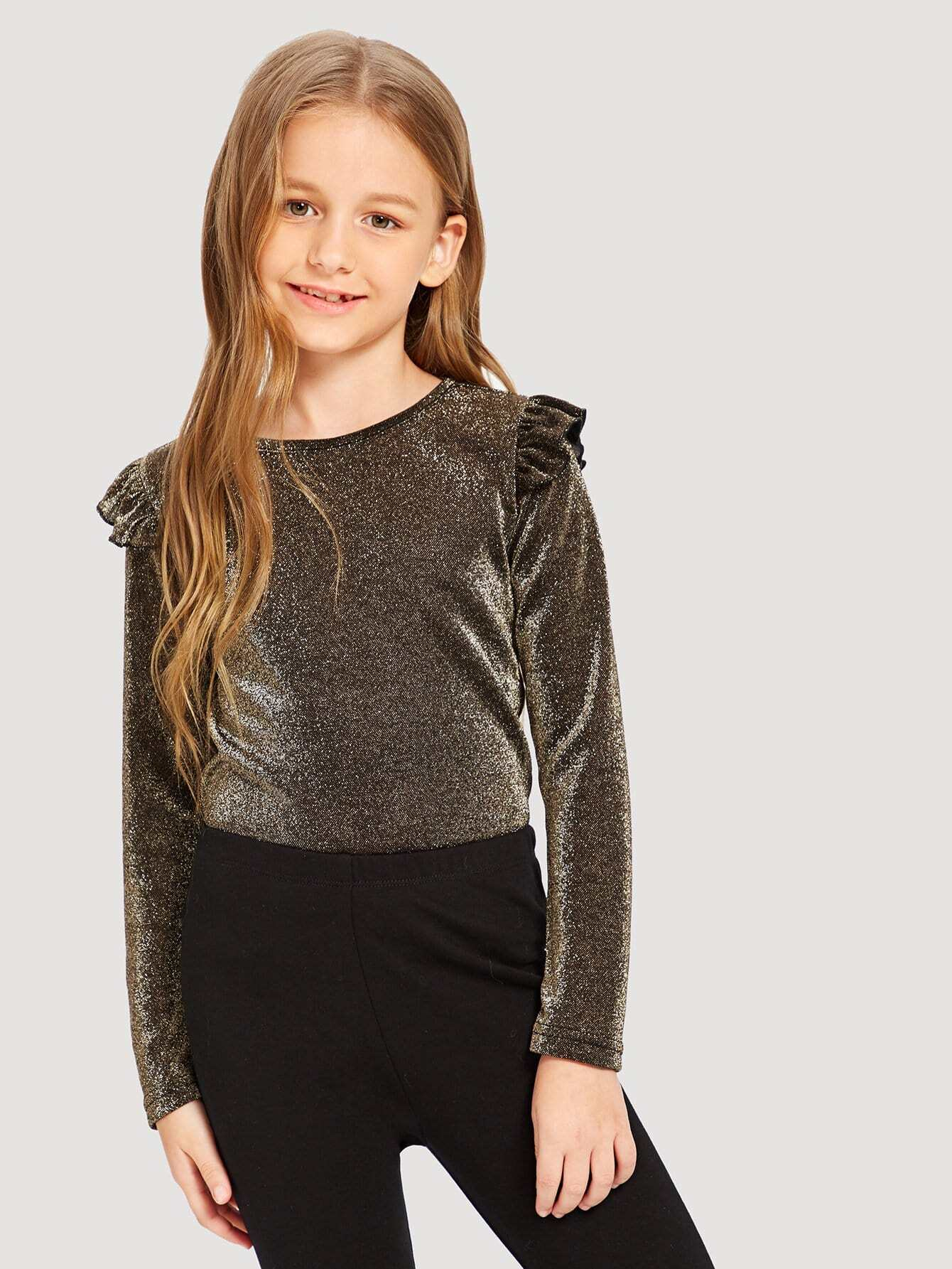 Купить Блестящая футболка с розеткой для девочки, Sashab, SheIn