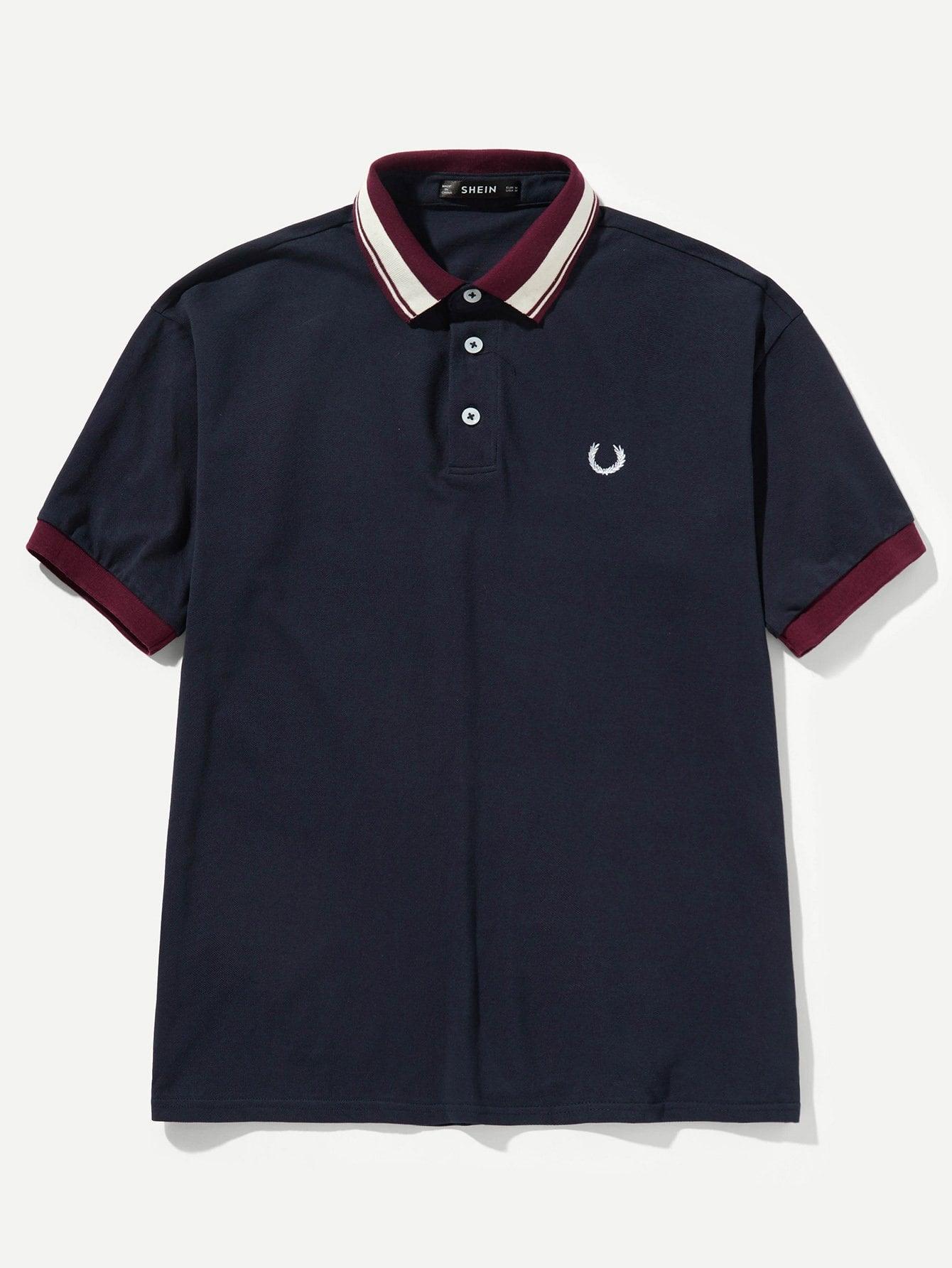 Купить Поло футболка с полосатыми оторочками для мужчины, null, SheIn