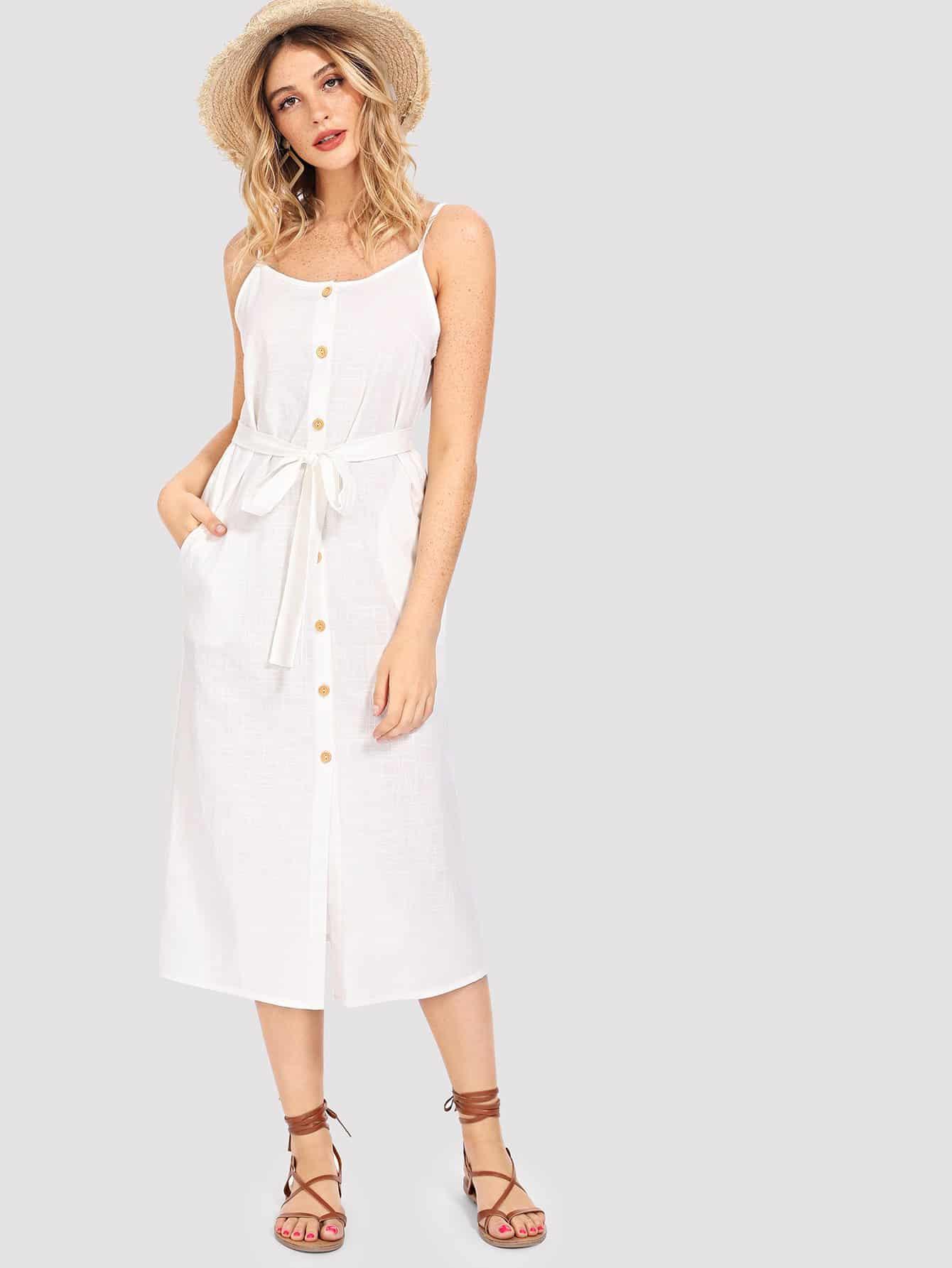 Купить Полосатое платье на бретелях и с украшением пуговицы, Nathane, SheIn