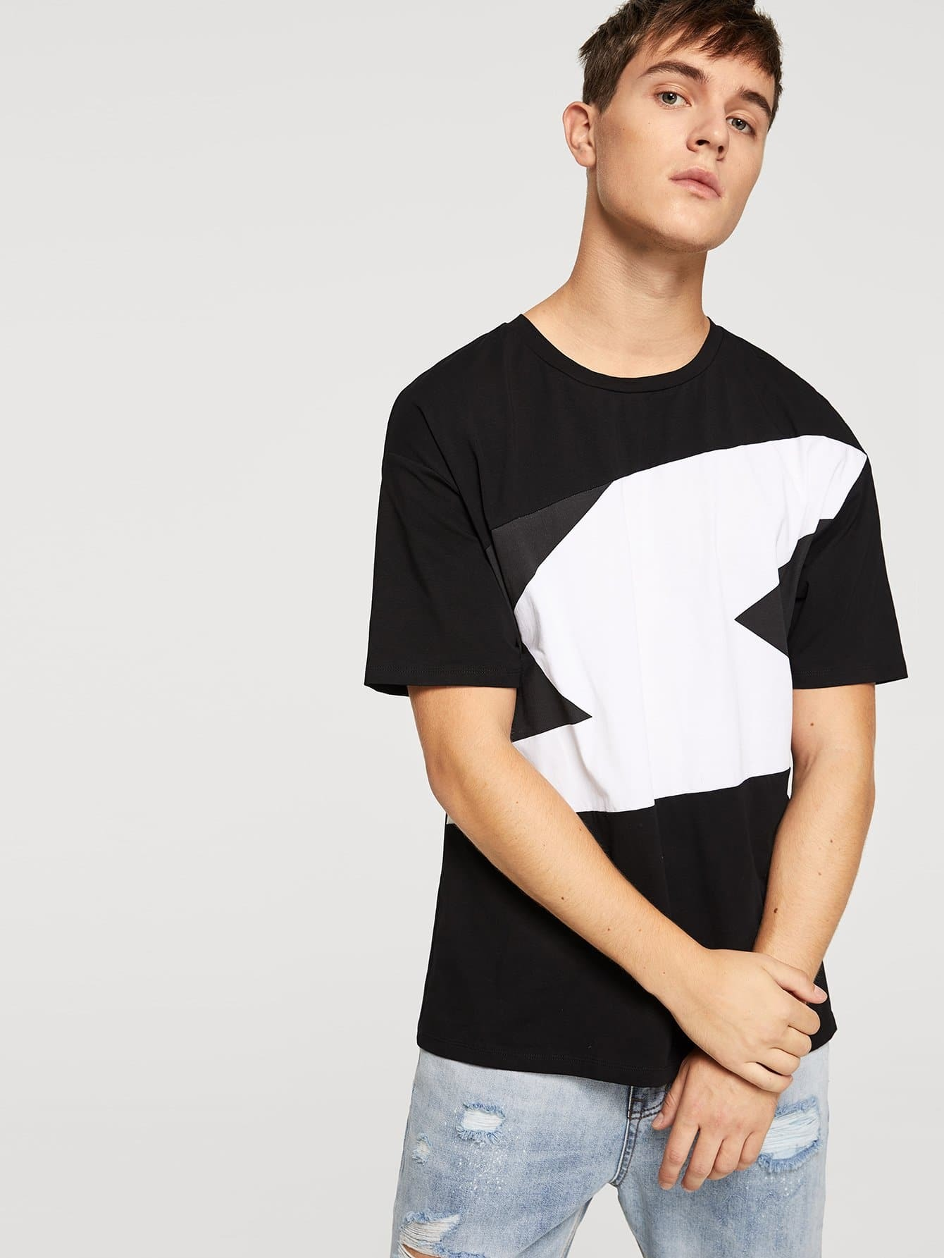 Купить Контрастная длинная футболка для мужчины, Vitaly, SheIn