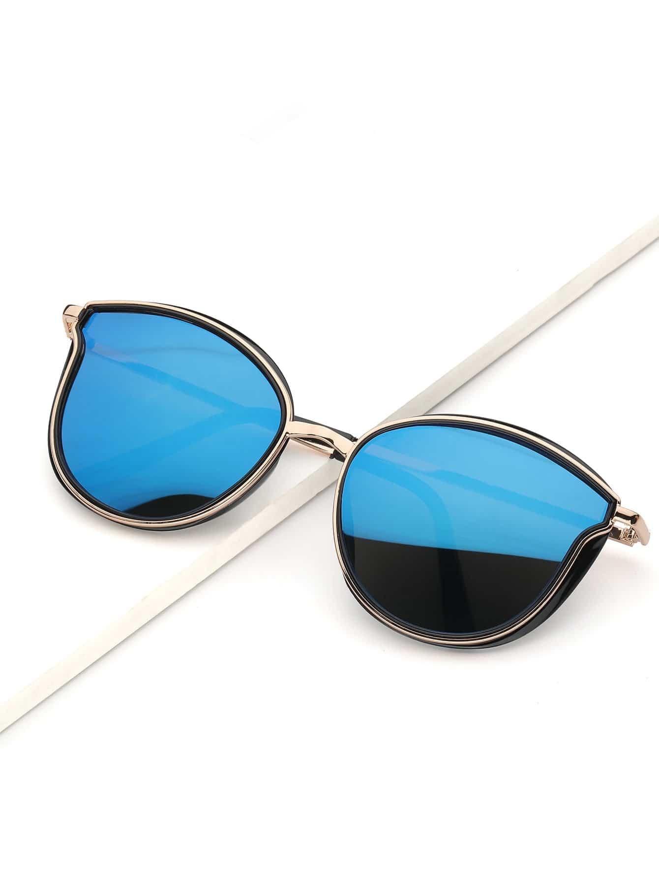 Men Cat Eye Metal Frame Mirror Lens Sunglasses