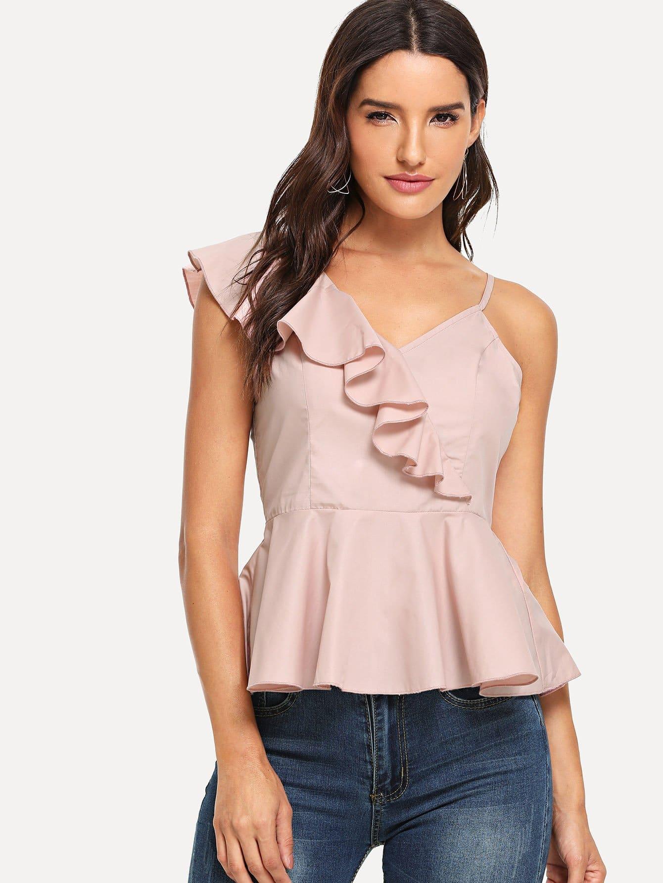 Купить Блуза с асимметричным воротником, Juliana, SheIn