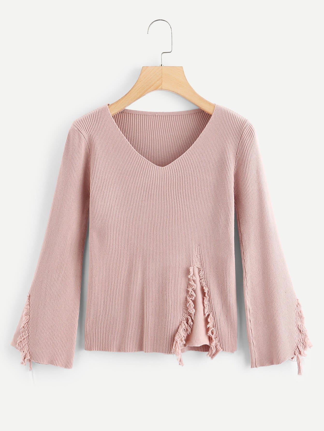 Raw Hem Solid Ribbed Knit Sweater