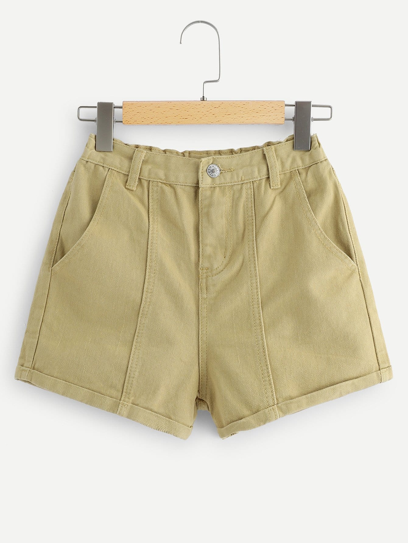 Rolled Hem Solid Denim Shorts