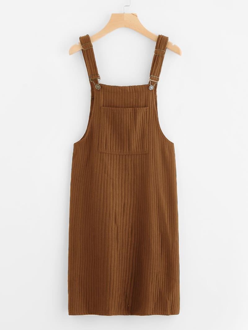 Pocket Detail Ribbed Knit Pinafore Dress
