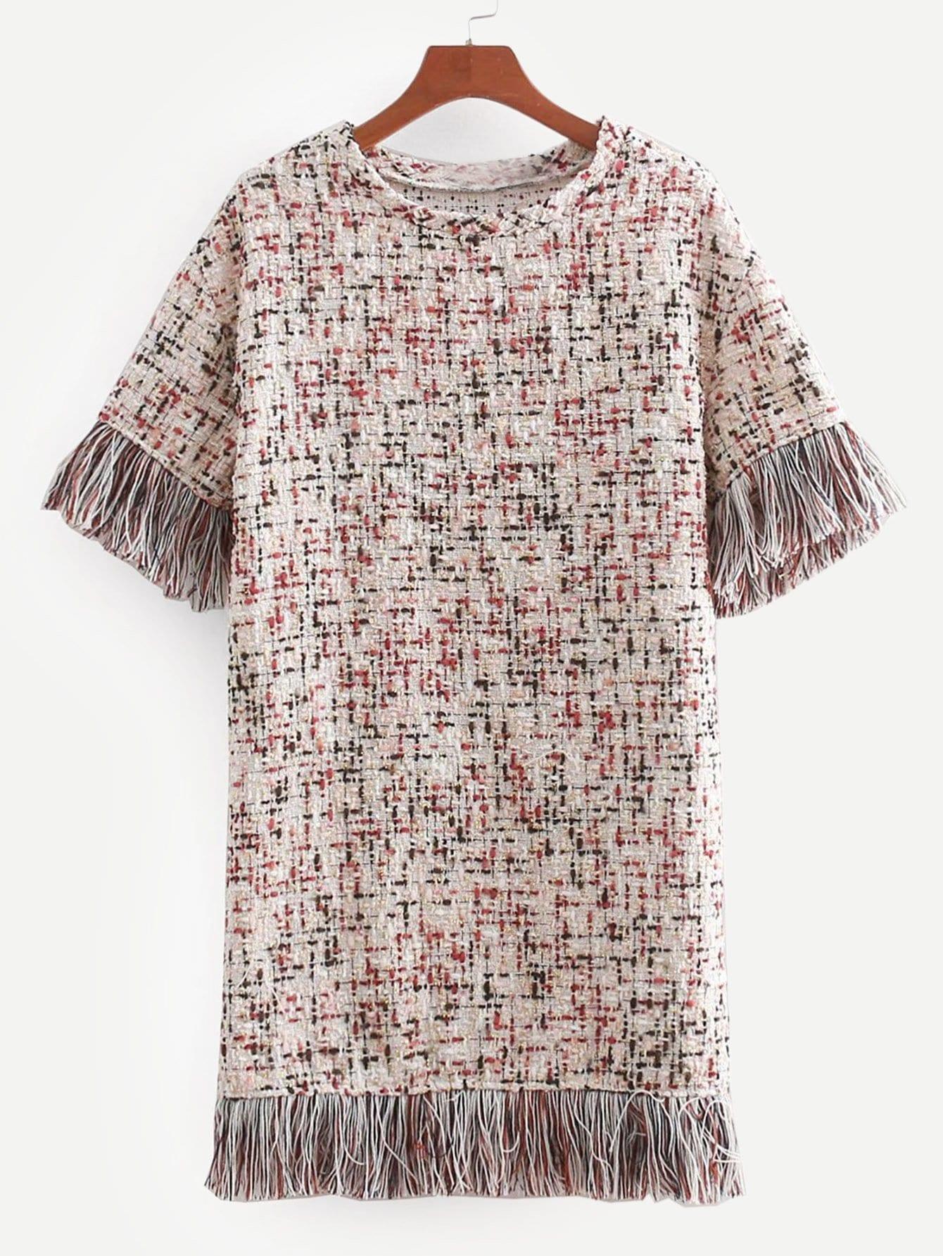 Купить Платье из твида и с кружевными оборками, null, SheIn