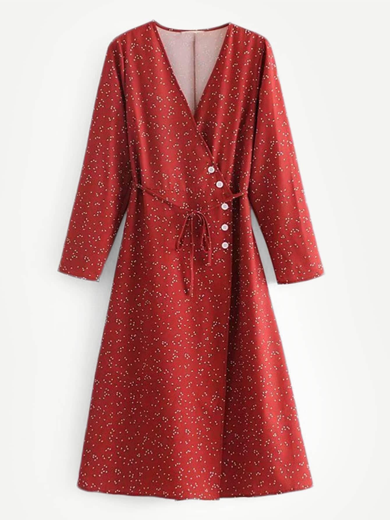 Купить Платье с запахом и с рисунками точки и с украшением пуговицы, null, SheIn