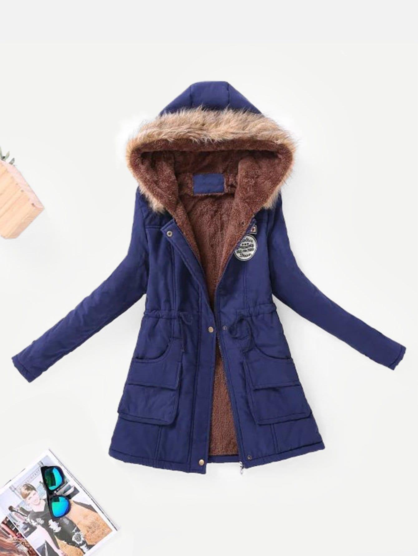 Купить Пальто парка с капюшонои и из искусственных кож и со симметрической подкладкой, null, SheIn