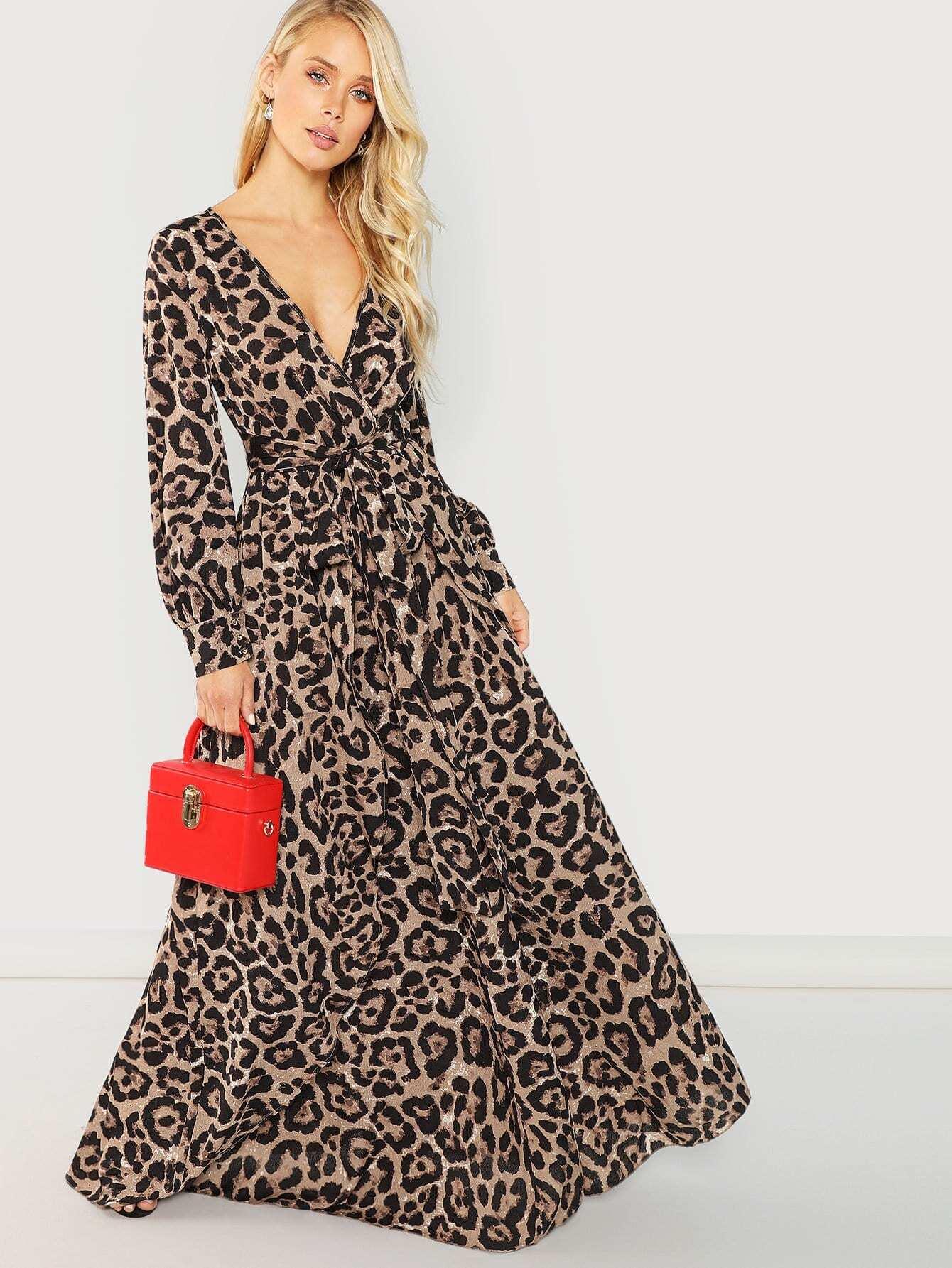 Купить ЛеопардовоеплатьесV-образным, Allie Leggett, SheIn