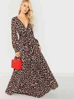 Plunge Neck Self Tie Leopard Wrap Dress