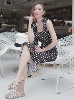 Self Tie Shoulder Polka Dot Ruffle Hem Dress
