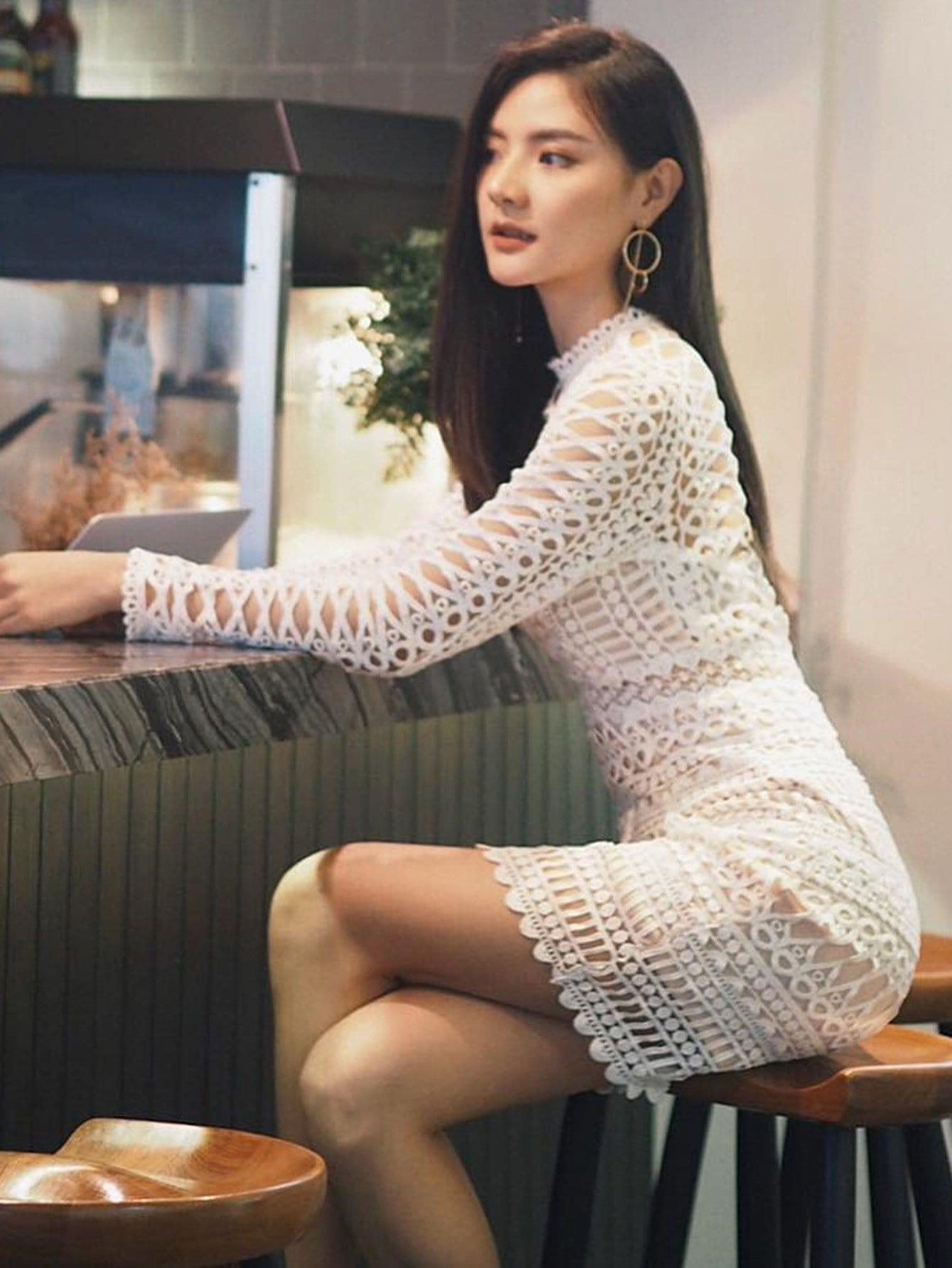 Circle Guipure Lace Overlay Dress