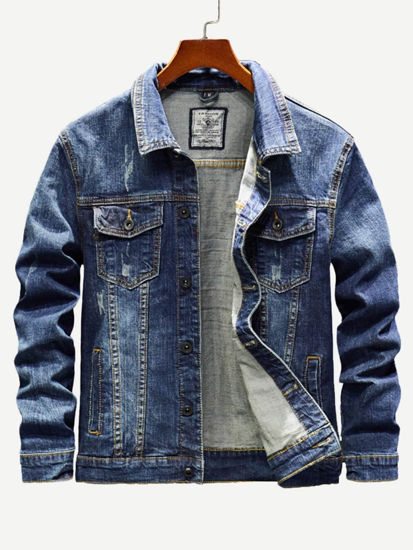 Men Pocket Decoration Wash Denim Jacket