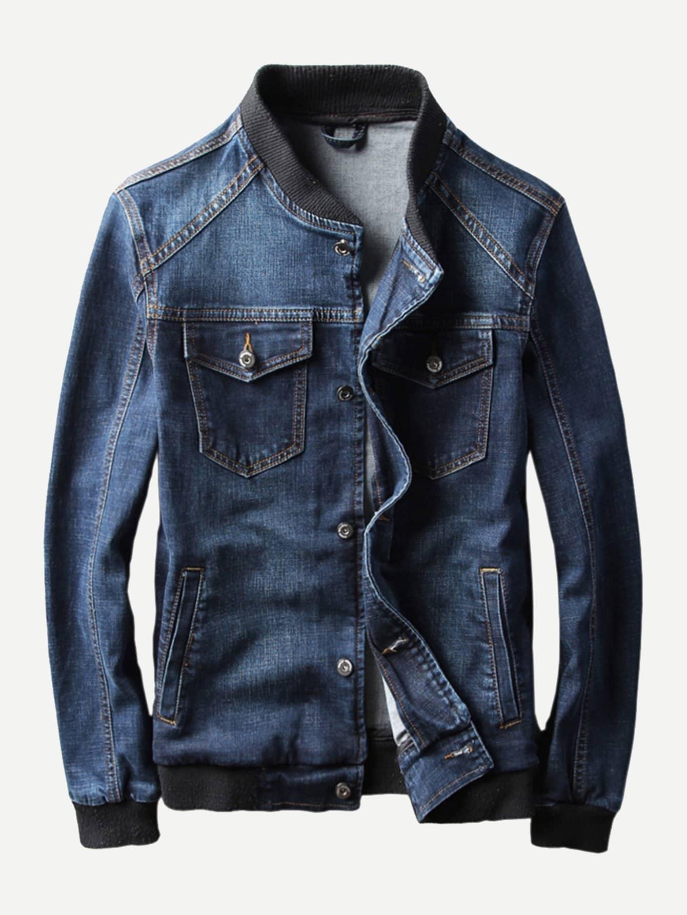 Men Pocket Decoration Denim Jacket