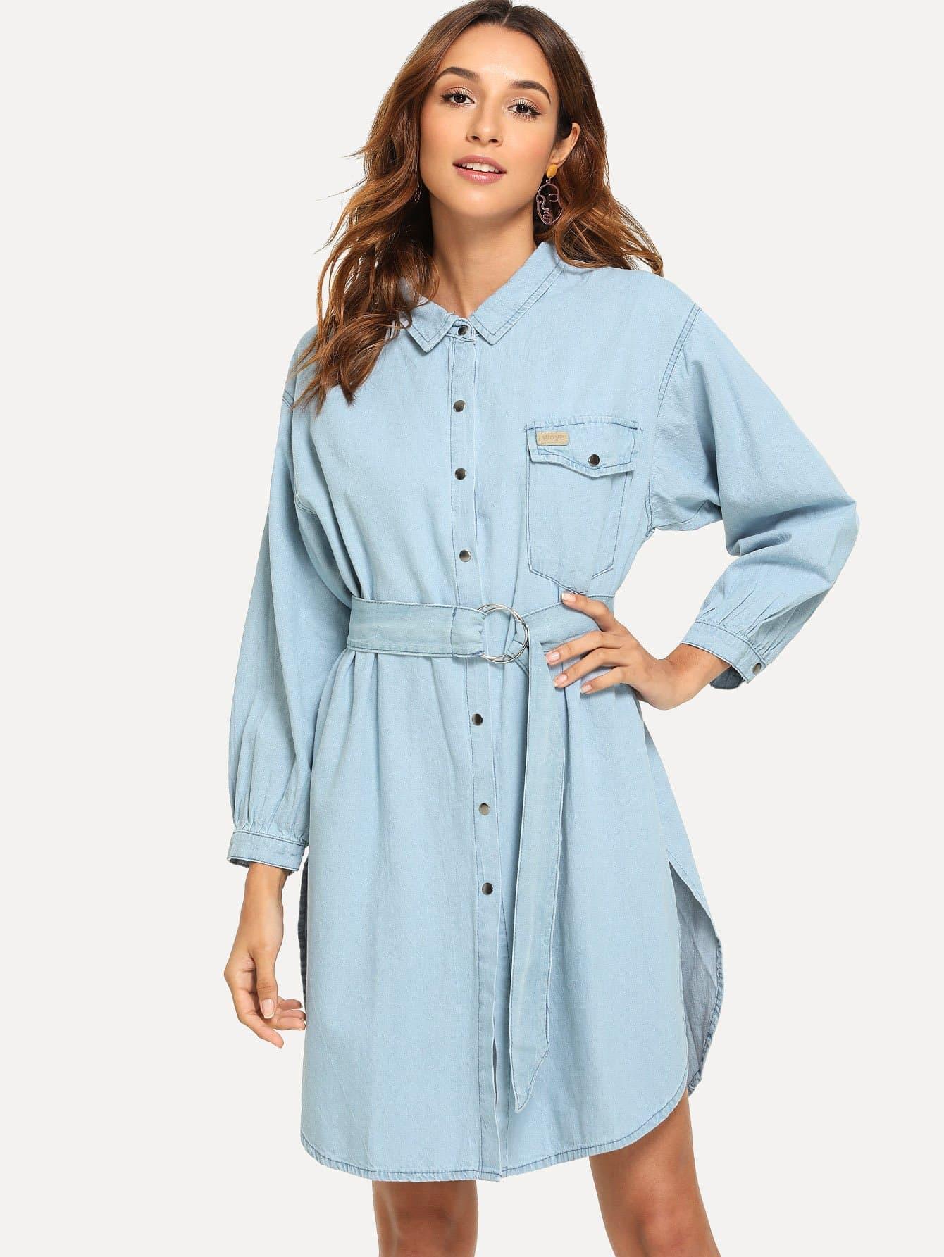 Купить Джинсовое платье-рубашки с поясом и вырезом, Gabi B, SheIn