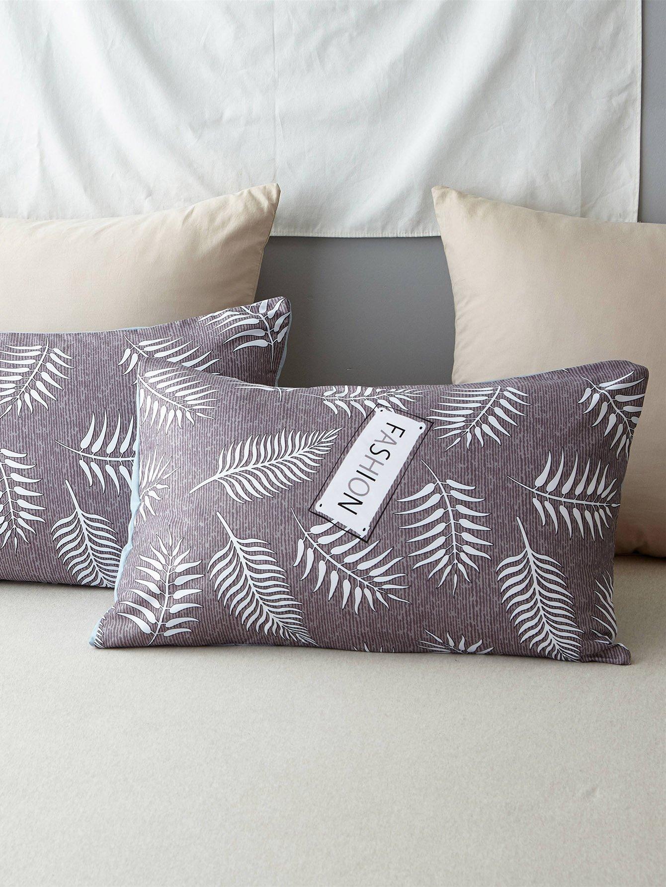 Kissenbezug mit Blatt und Buchstaben Muster 1Paar