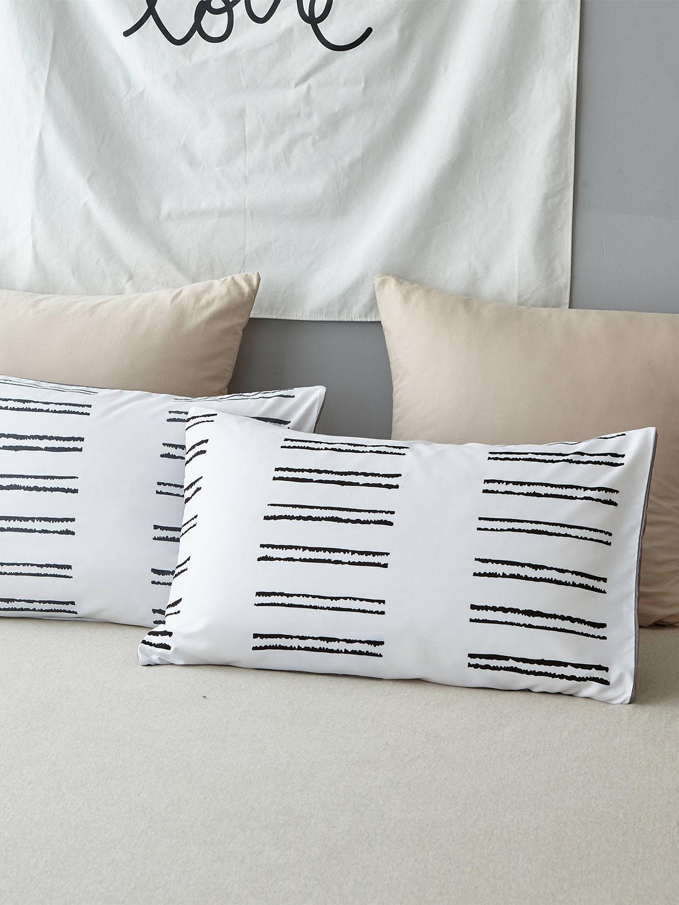 Kissenbezug mit Streifen Muster 1Paar