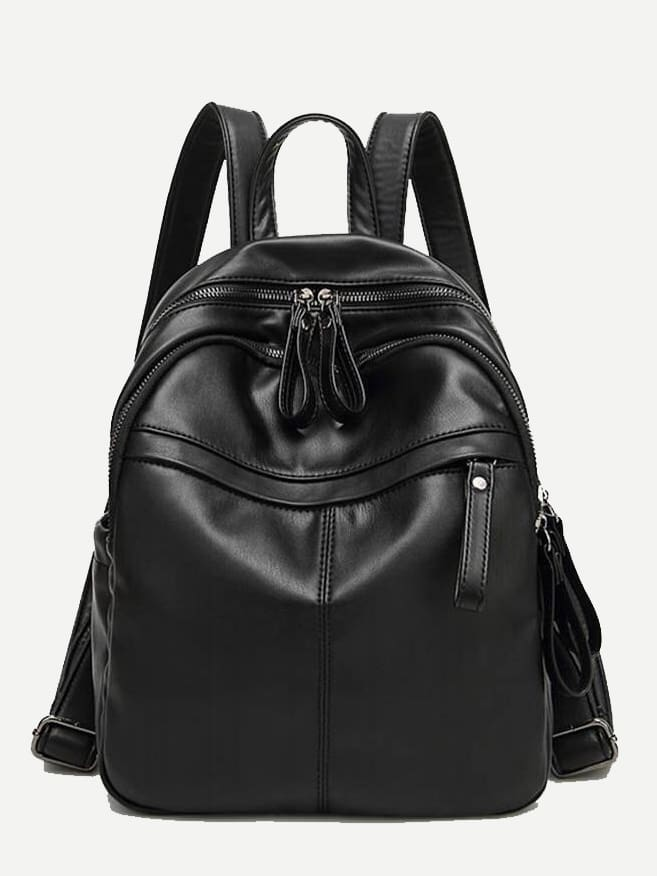 Zipper Pocket Front PU Backpack