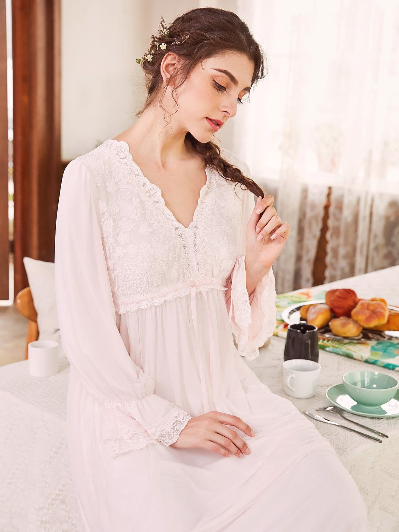 Floral Lace Flounce Sleeve Night Dress