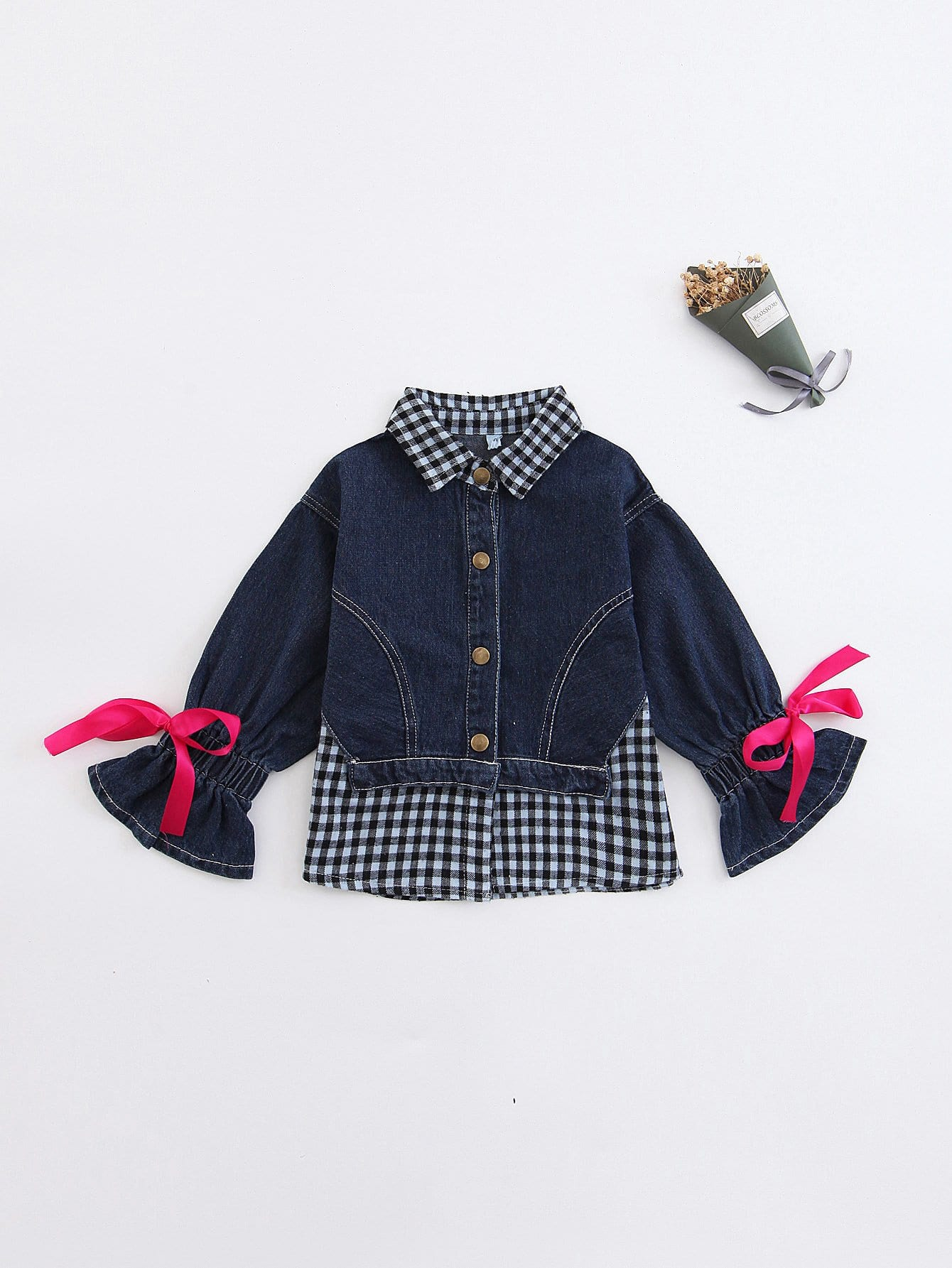 Girls Knot Detail Contrast Gingham Denim Jacket