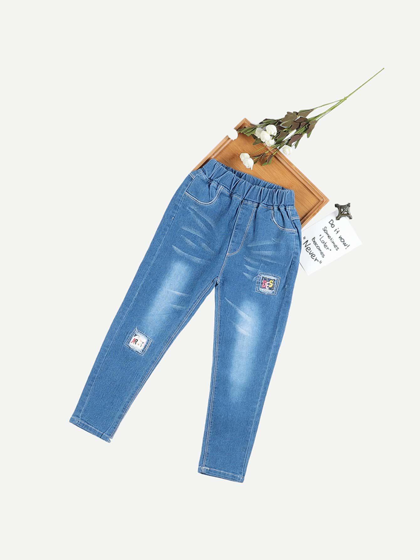 Купить Рваные джинсы с украшением заплаты для девочки, null, SheIn