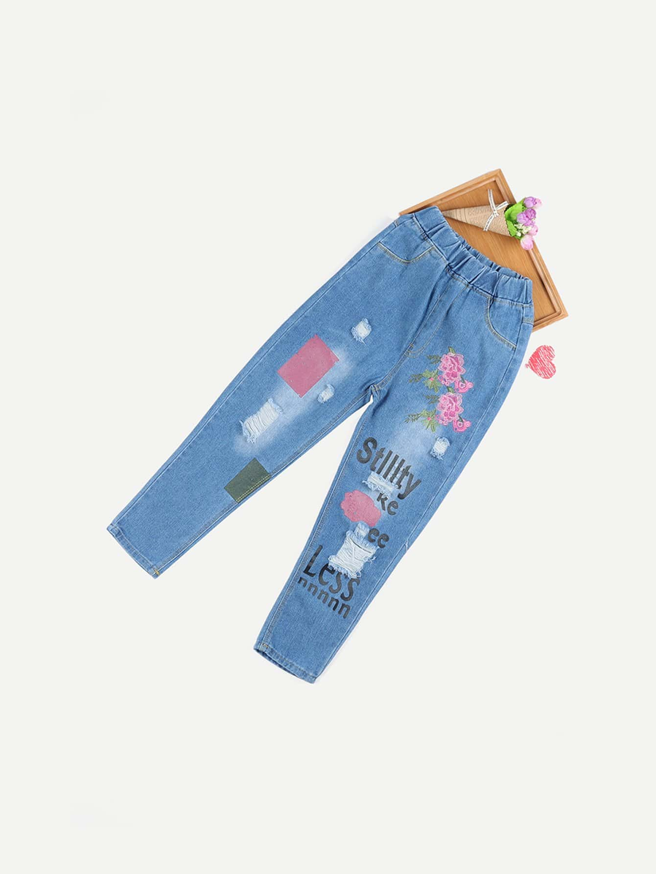Girls Embroidery Detail Letter Print Jeans men letter embroidery side jeans
