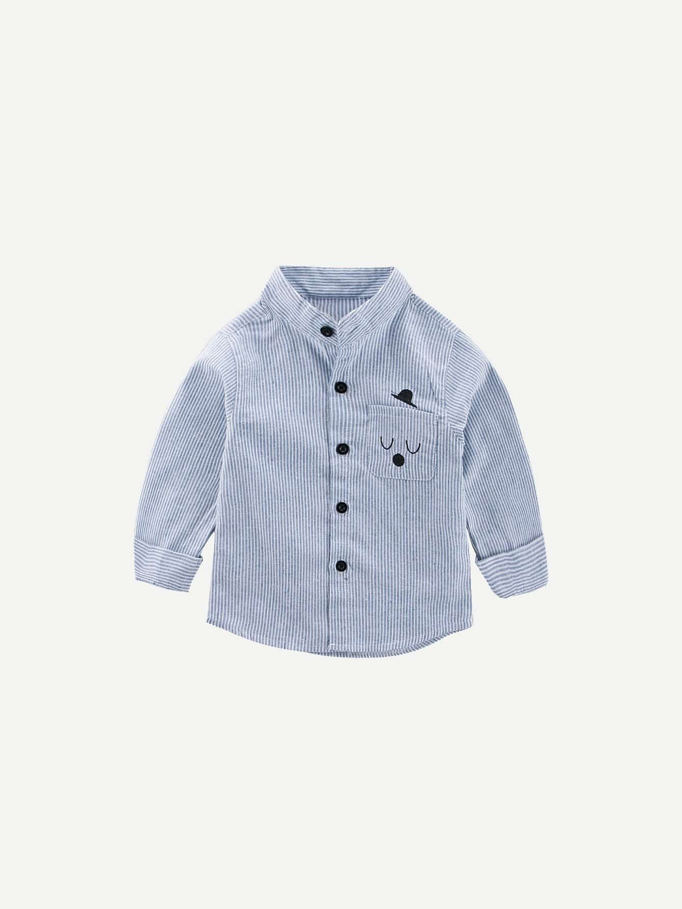 Boys Embroidery Detail Striped Shirt