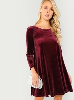 Long Sleeve Velvet Swing Dress