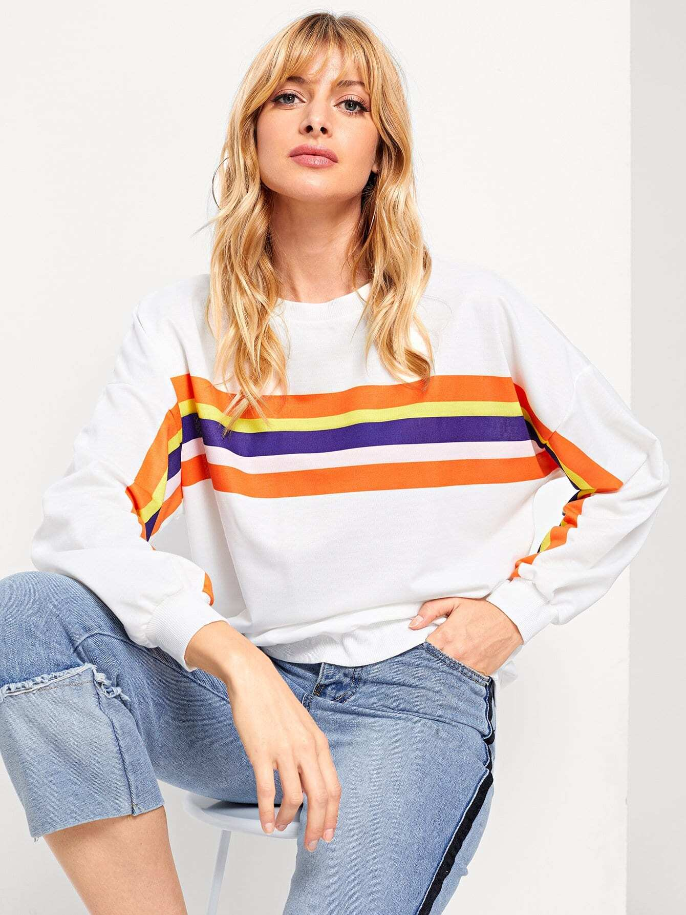 цена Colorful Striped Sweatshirt