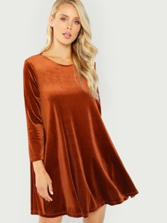 Long Sleeve Velvet Swing Dress