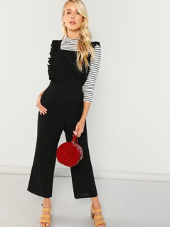 Ruffle Strap Belted Jumpsuit