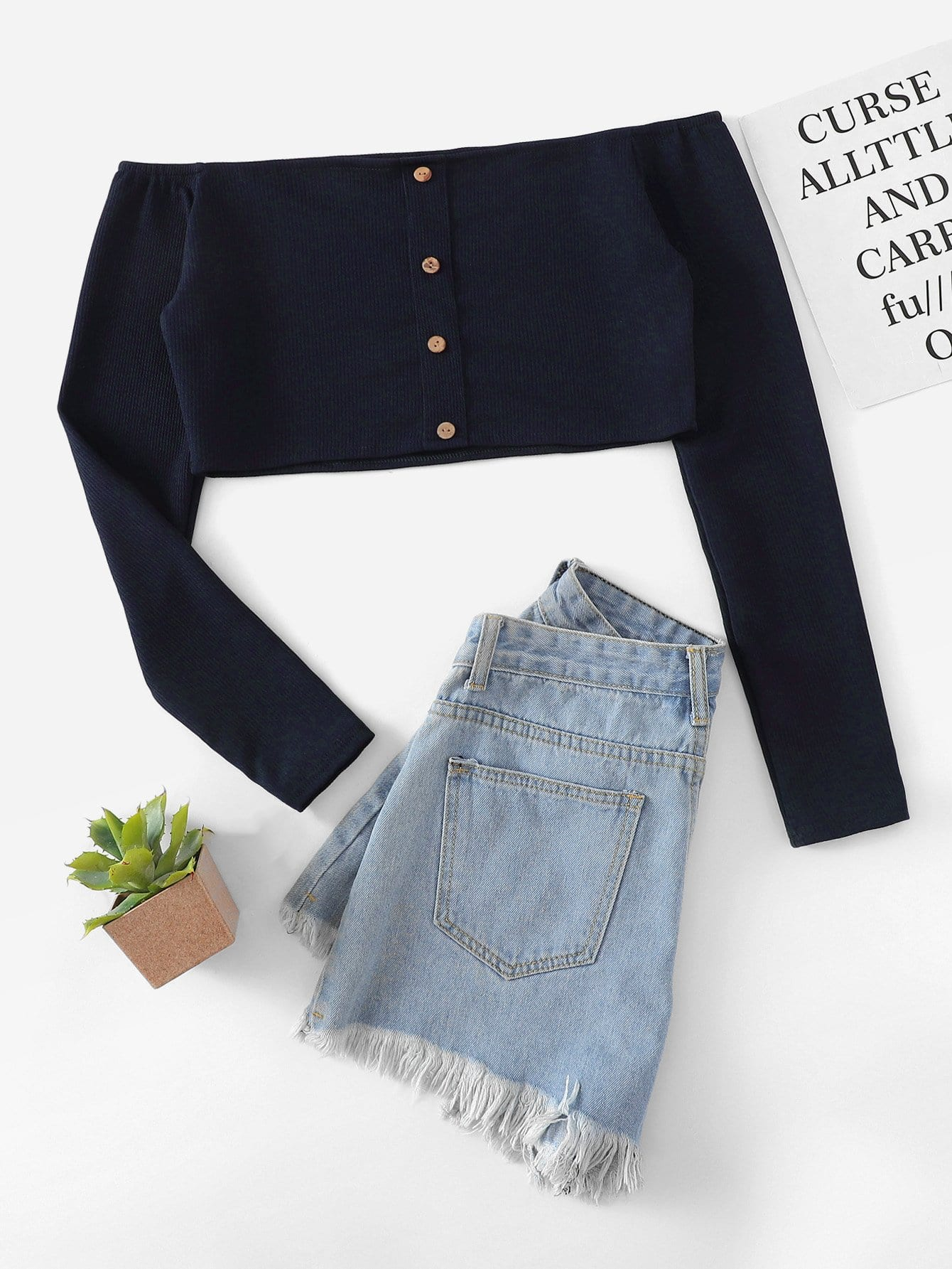 Button Front Off The Shoulder Tee