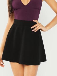 Elastic Waist Textured Skirt