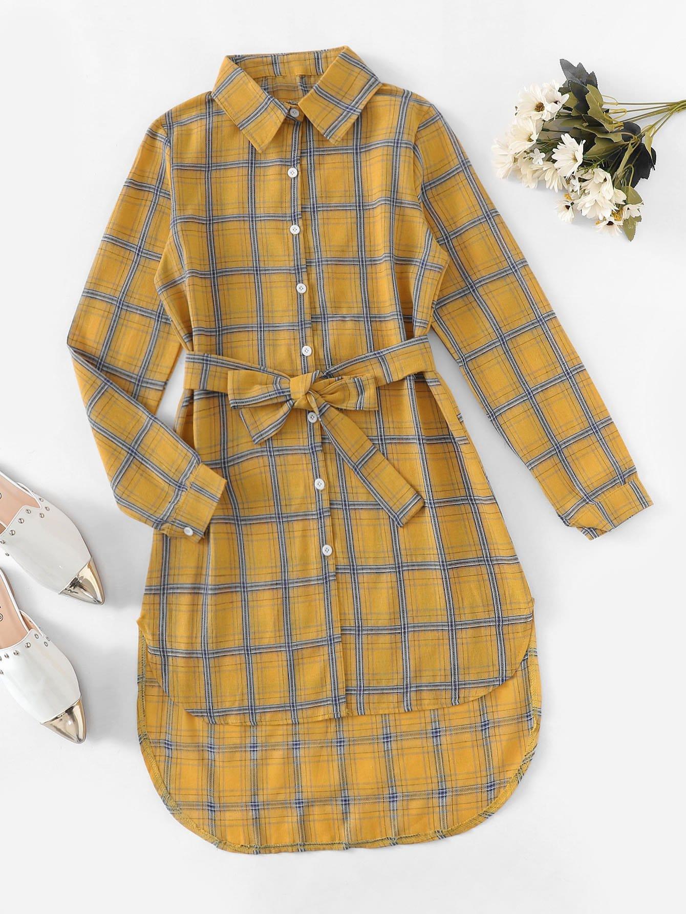 Asymmetrisches Kleid mit Plaid Muster