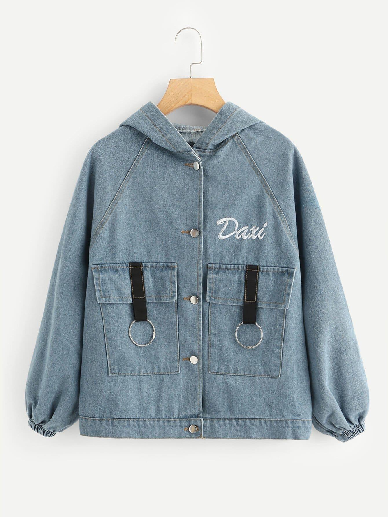 Jeans Jacke mit Buchstaben Stickereien und Kapuze