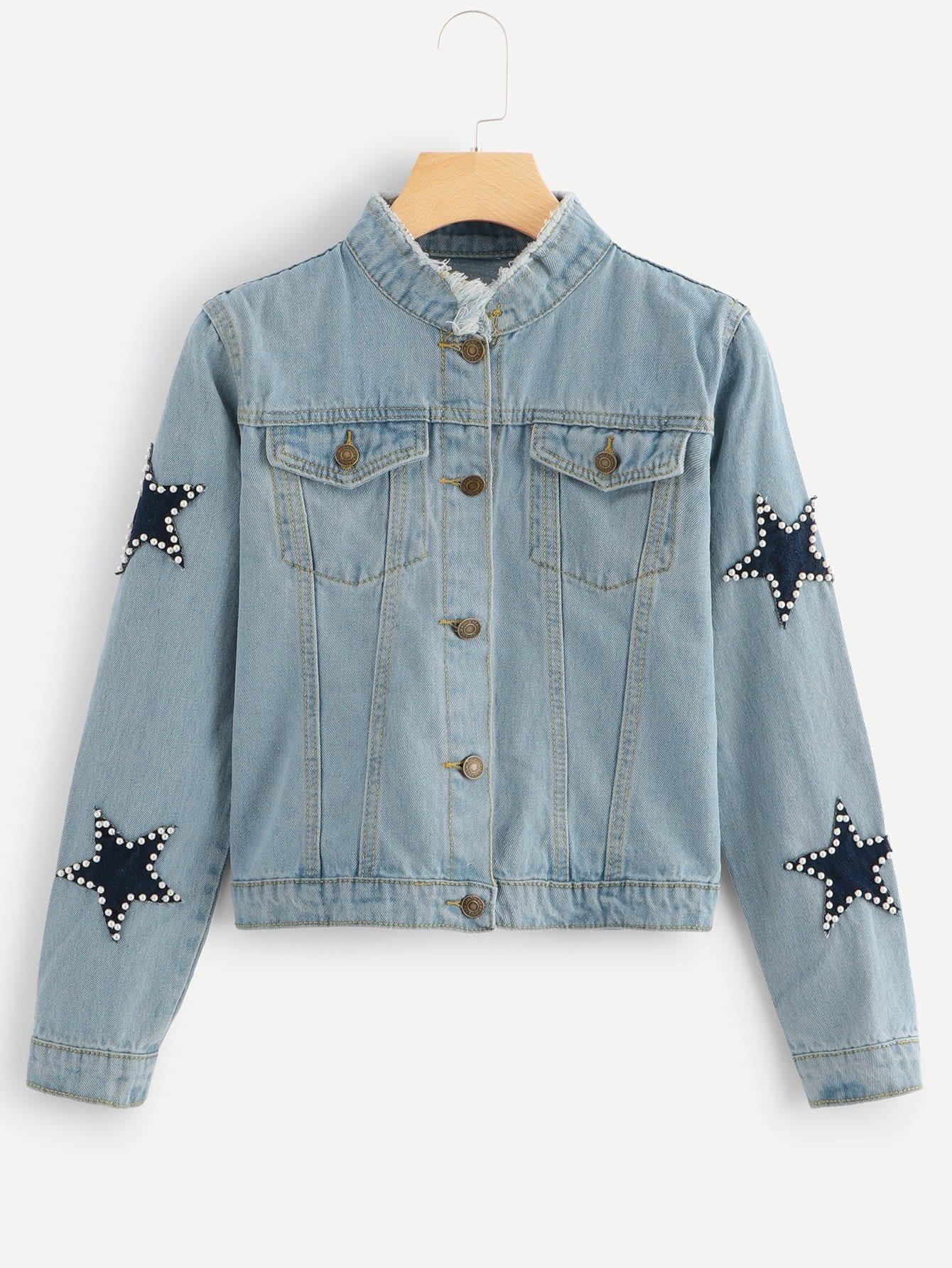 Beaded Detail Pocket Decoration Denim Jacket