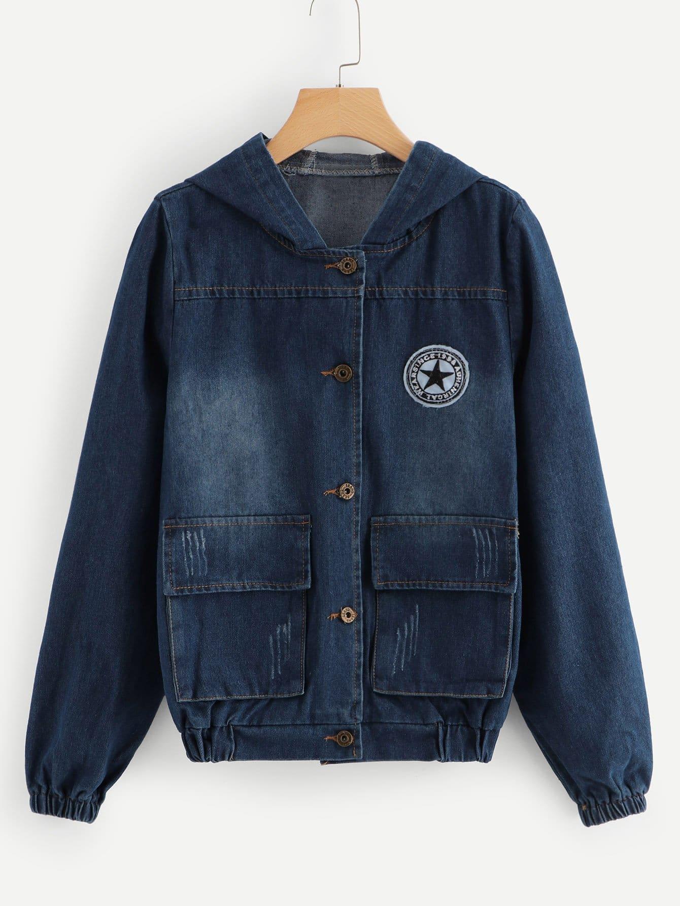Jeans Jacke mit Flicken Detail und Kapuze